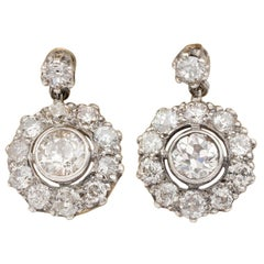 Edwardian 3.20 Carat Old European Cut Diamond Cluster Earrings