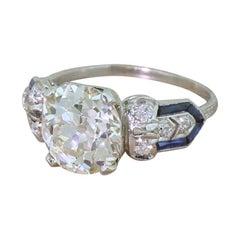Edwardian 3.22 Carat Old Cut Diamond Engagement Ring