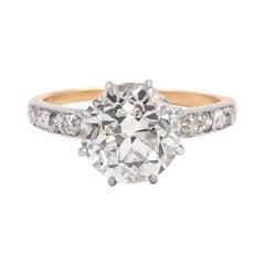 Edwardian 3.23 Carat GIA Certified Old European Cut Engagement Ring