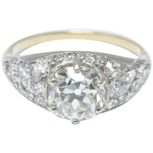 93980805a Edwardian 3.34 CTW Diamond and Platinum Top 18K Yellow Gold Alternative  Ring GIA For Sale at 1stdibs