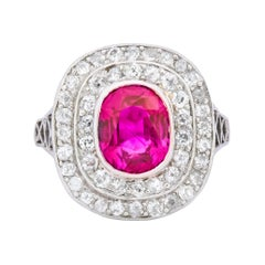 Edwardian 3.37 Carat No Heat Burma Ruby Diamond Halo Platinum Cluster Ring AGL