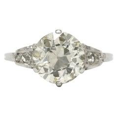 Edwardian 3.46 Carat Old European Diamond Solitaire White Gold Engagement Ring