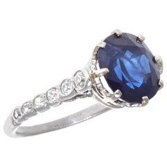 Edwardian 3.58 Carat Sapphire Platinum Ring