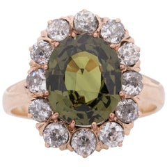 Edwardian 3.63Ct No Heat GIA Certified Olive Green Sapphire w/Diamond Halo Ring