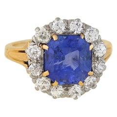 Edwardian 3.75 Carat Natural Ceylon Sapphire and Diamond Ring