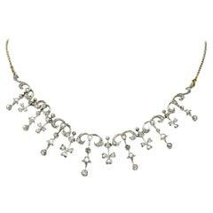 Edwardian 4.00 Carat Diamond Platinum-Topped 14 Karat Gold Droplet Necklace