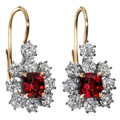 Edwardian 4.12ct Vivid Red Burma Spinel Diamond Cluster Hanging Drop Earrings