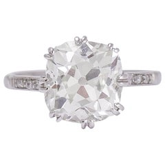 Edwardian 4.20 Carat Cushion Cut Diamond Engagement Ring