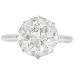 Edwardian 4.30 Carat Old European Cut Diamond Platinum Engagement Ring, 1910s