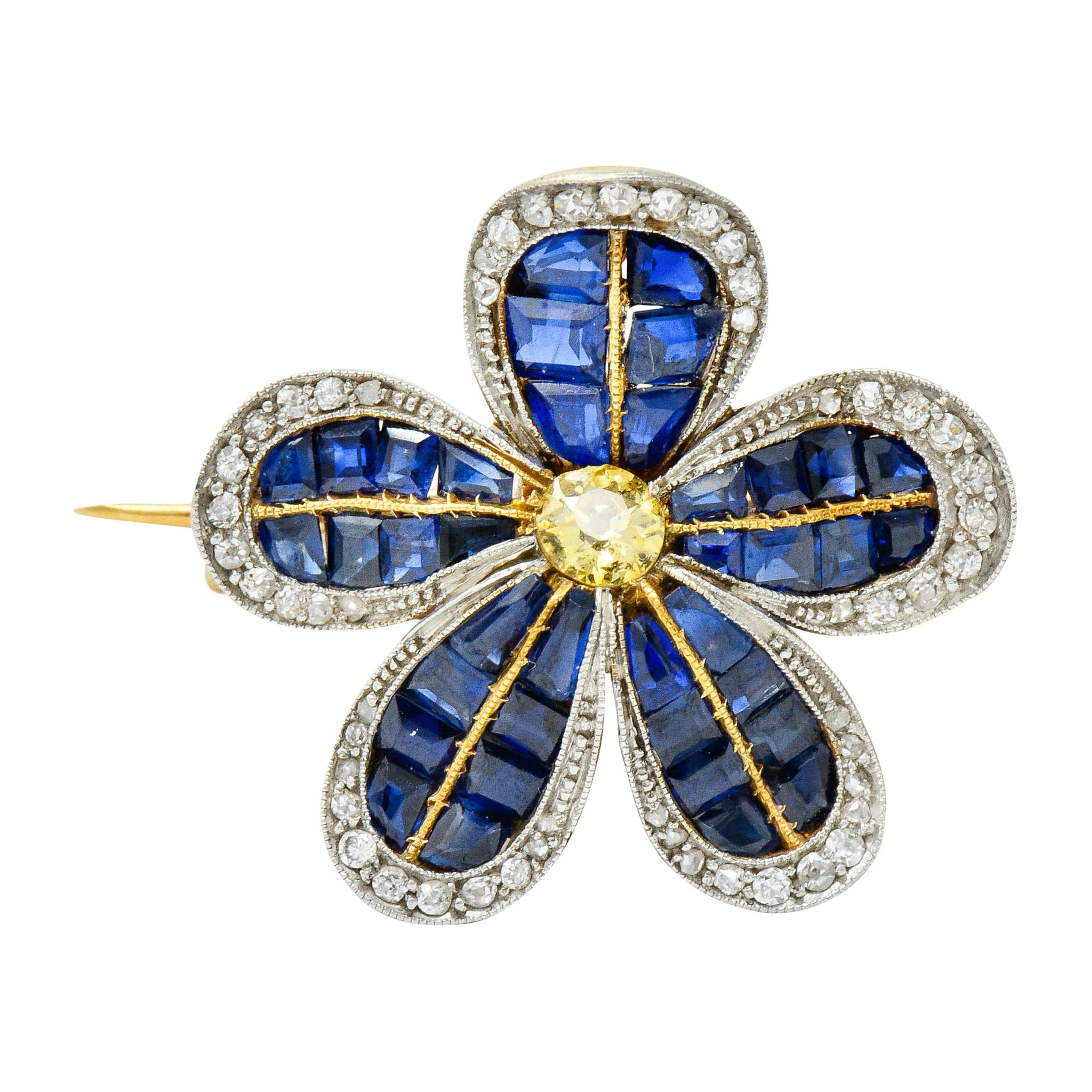 Edwardian 4.32 Carat Sapphire Fancy Colored Diamond Platinum 18 Karat Gold Pin