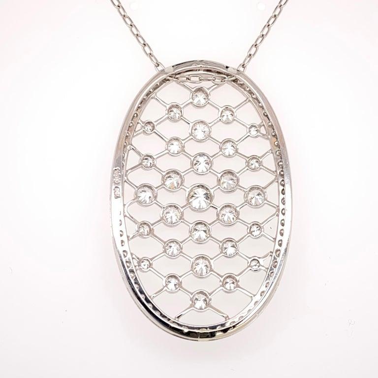 Old European Cut Edwardian 4.50 Carat Diamond 18 Karat White Gold Oval Pendant Necklace