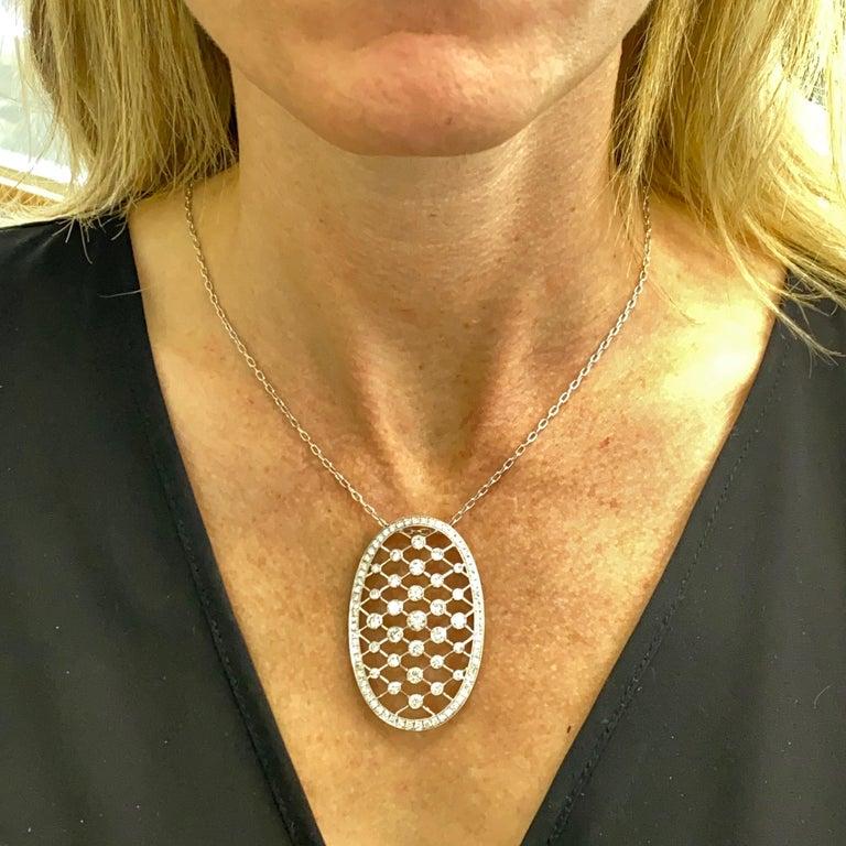 Edwardian 4.50 Carat Diamond 18 Karat White Gold Oval Pendant Necklace In Excellent Condition In Boca Raton, FL