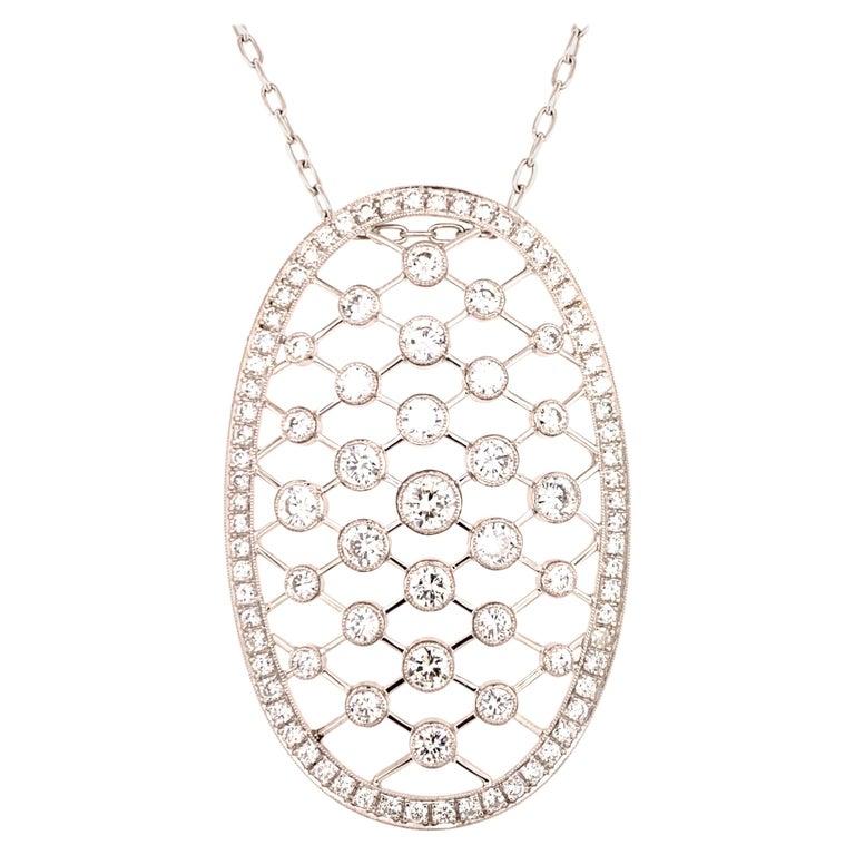 Edwardian 4.50 Carat Diamond 18 Karat White Gold Oval Pendant Necklace