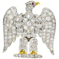 Edwardian  Royal Scots Greys Dragoon Waterloo Diamond Ruby Eagle Brooch