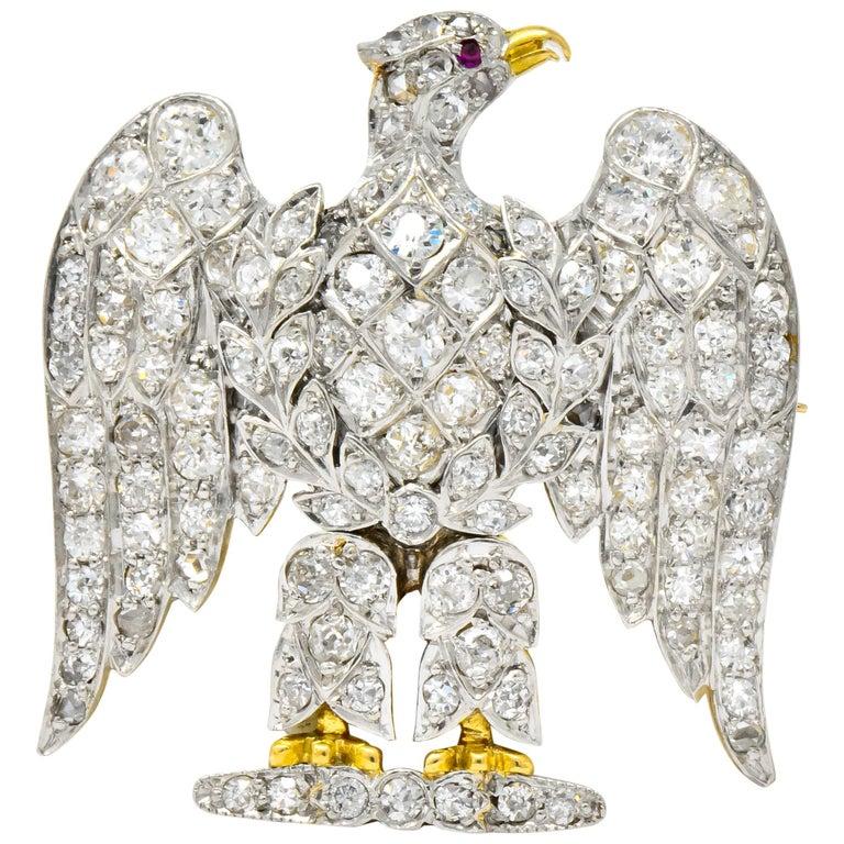 Edwardian  Royal Scots Greys Dragoon Waterloo Diamond Ruby Eagle Brooch For Sale