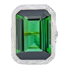 Edwardian 45.28 Carat Green Tourmaline Platinum 14 Karat Gold Cocktail Ring
