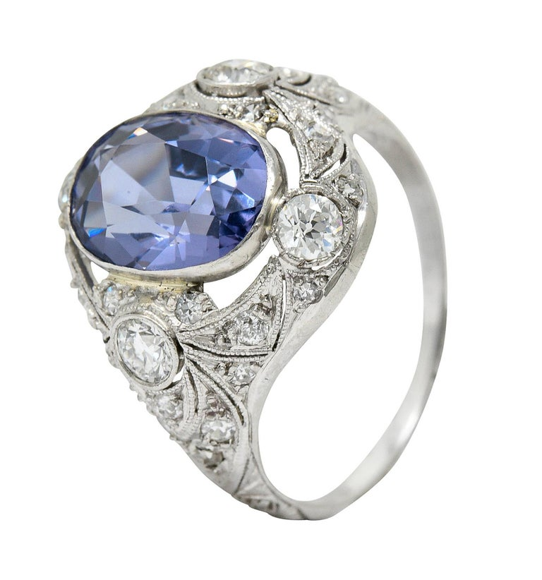For Sale: undefined Edwardian 4.97 Carats No Heat Color-Changing Spinel Diamond Platinum Dinner Ring 10