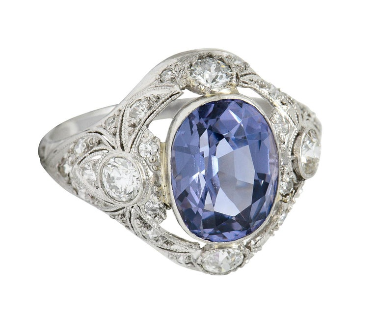 For Sale: undefined Edwardian 4.97 Carats No Heat Color-Changing Spinel Diamond Platinum Dinner Ring 11