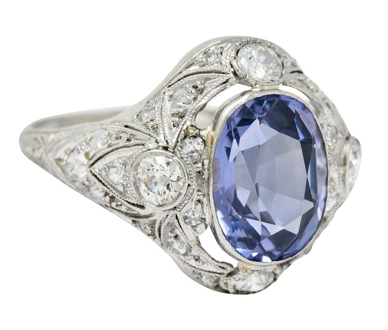 For Sale: undefined Edwardian 4.97 Carats No Heat Color-Changing Spinel Diamond Platinum Dinner Ring 2