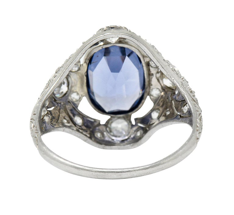 For Sale: undefined Edwardian 4.97 Carats No Heat Color-Changing Spinel Diamond Platinum Dinner Ring 4