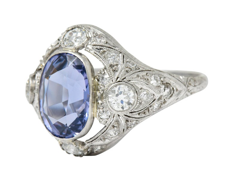 For Sale: undefined Edwardian 4.97 Carats No Heat Color-Changing Spinel Diamond Platinum Dinner Ring 6