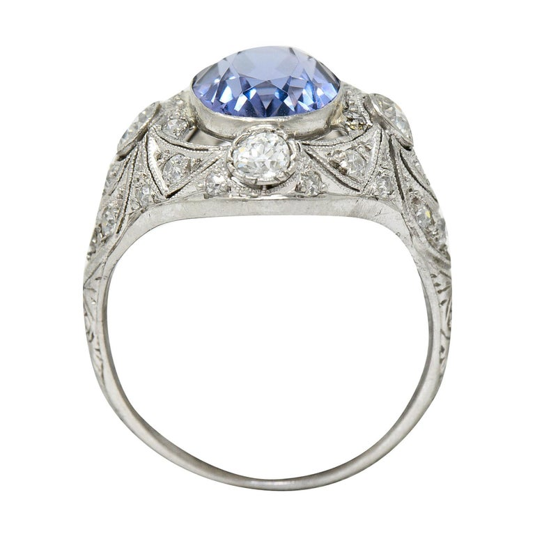 For Sale: undefined Edwardian 4.97 Carats No Heat Color-Changing Spinel Diamond Platinum Dinner Ring 7