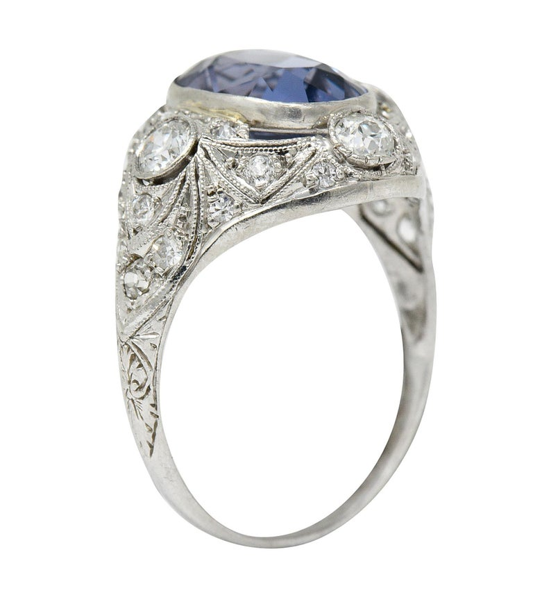 For Sale: undefined Edwardian 4.97 Carats No Heat Color-Changing Spinel Diamond Platinum Dinner Ring 8