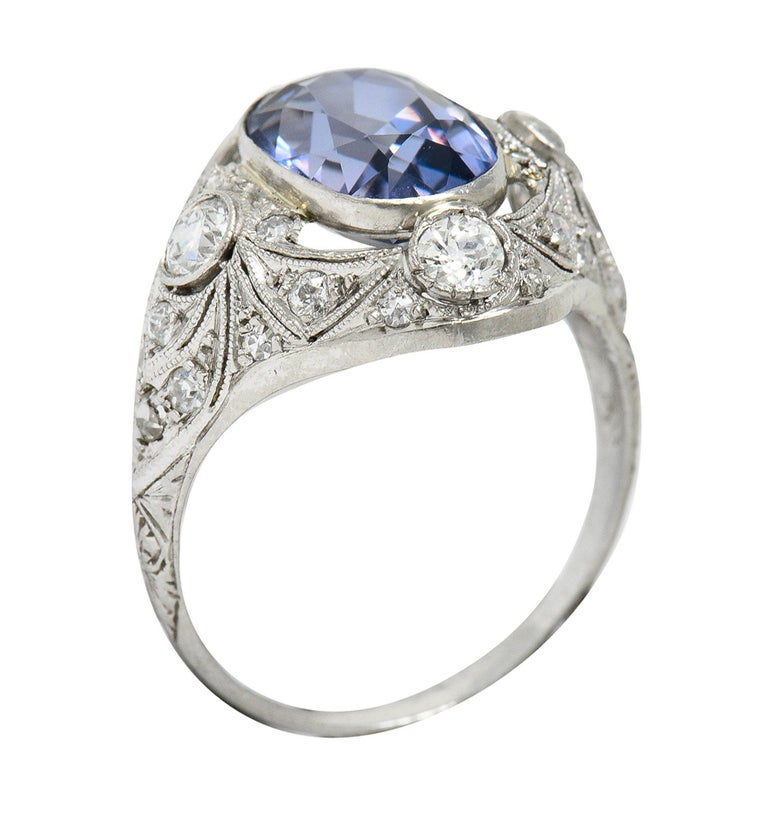 For Sale: undefined Edwardian 4.97 Carats No Heat Color-Changing Spinel Diamond Platinum Dinner Ring 9