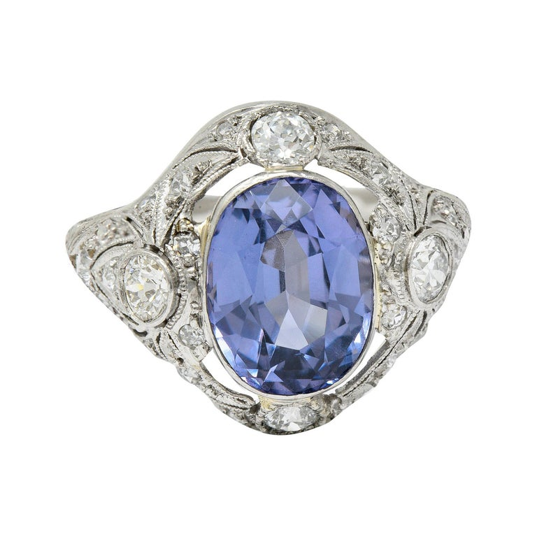 For Sale: undefined Edwardian 4.97 Carats No Heat Color-Changing Spinel Diamond Platinum Dinner Ring