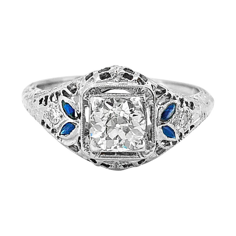 Edwardian Engagement Rings For Sale: Edwardian .50 Carat Diamond And Sapphire Antique