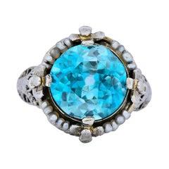 Edwardian 5.00 Carat Blue Zircon Seed Pearl 18 Karat White Gold Ring