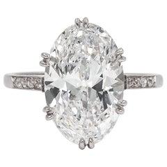 Edwardian 5.02 Carat E/VVS2 Oval Cut Diamond Engagement Ring by Janesich