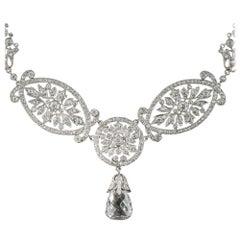 Edwardian 5.07 Carat Briolette Diamond Necklace, GIA E SI2