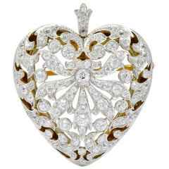 Edwardian 5.75 Carat Diamond Crystal Platinum-Topped Gold Heart Pendant Brooch