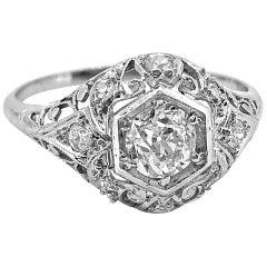 Edwardian .60 Carat Diamond Platinum Antique Engagement Ring