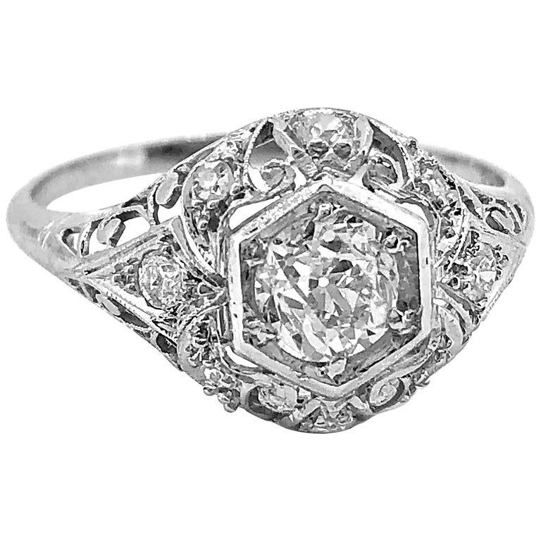 Antique Engagement Rings For Sale: Edwardian .60 Carat Diamond Platinum Antique Engagement