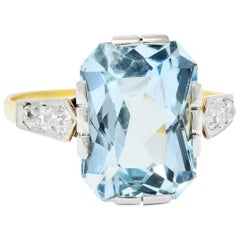Edwardian 6.25 Carat Aquamarine Diamond Platinum-Topped 18 Karat Gold Ring