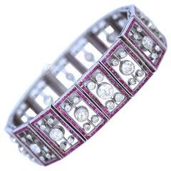 Edwardian 6.25 Carat Diamonds Rubies Art Deco Platinum Bracelet, 1920