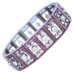 Edwardian 6.25 Carat Diamonds Rubies Art Deco Platinum Bracelet, 1920