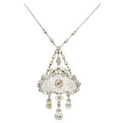 Edwardian 6.25 Carat Fancy Diamond Pearl Platinum Floral Foliate Drop Necklace
