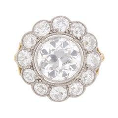 Edwardian 6.30 Carat Old Cut Diamond Cluster Ring c.1910s