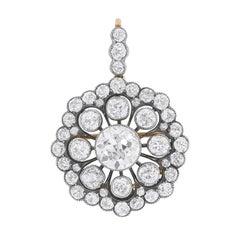 Edwardian 7.75 Carat Convertible Diamond Pendant Brooch c.1910