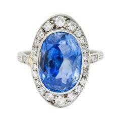 Edwardian 8.69 Carats No Heat Ceylon Sapphire Diamond 18 Karat White Gold Ring