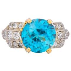 Edwardian 8.78 Carat Zircon Diamond 14 Karat Two-Tone Gold Ring, circa 1915