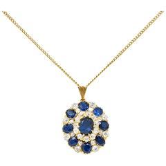 Edwardian 8.80 Carats Sapphire Diamond 14 Karat Gold Cluster Pendant Necklace