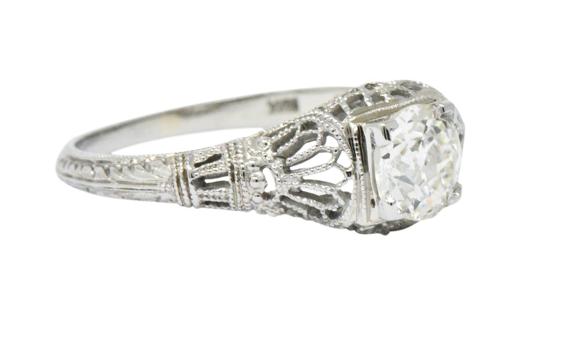 13804975ab34d Edwardian .89 CTW Diamond & 18K White Gold Engagement Ring, GIA