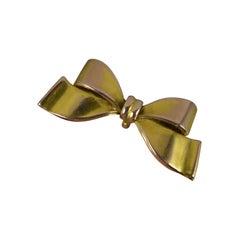 Edwardian 9 Carat Gold Bow Shaped Brooch