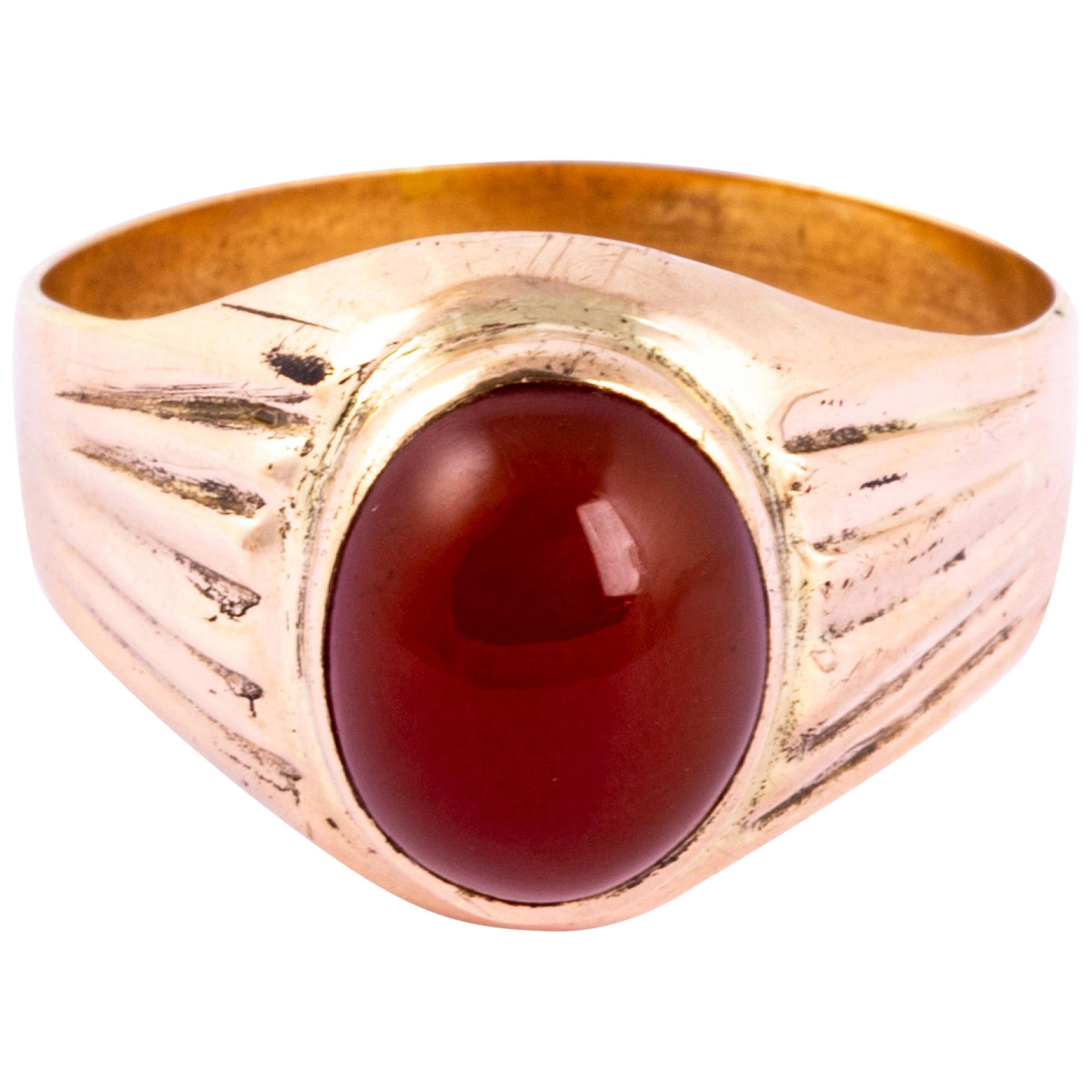 Edwardian 9 Carat Gold Carnelian Signet Ring