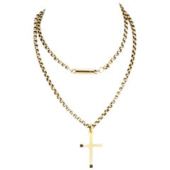 Edwardian 9 Carat Gold Cross and Chain Necklace