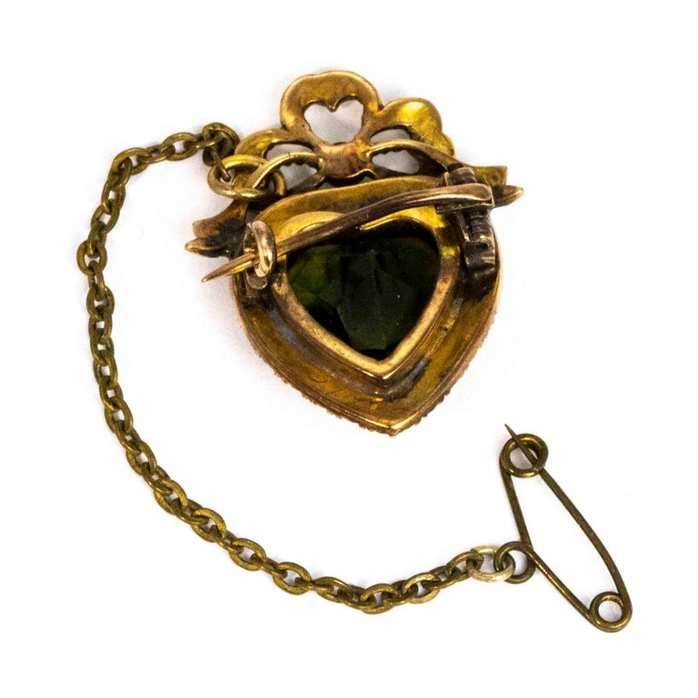 Women's or Men's Edwardian 9 Carat Gold Green Paste and Pearl Heart Brooch For Sale